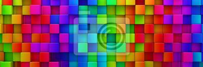 Plakat Tęcza kolorowych bloków abstrakcyjne tła - 3d renderowania