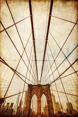 Plakat teksturowane nostalgiczny obraz Brooklyn Bridge z widokiem na Manhattan