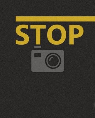 Plakat Tekstury asfaltu z żółtej linii i przystanku słowo