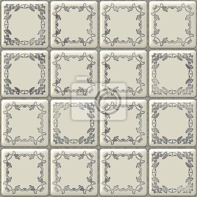 Plakat Tekstury bez szwu białe płytki z geometryczną dekoracją