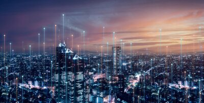 Plakat Telecommunication connections above smart city. Futuristic cityscape concept for internet of things (IoT), fintech, blockchain, 5G LTE network, wifi hotspot access, cyber security, digital technology