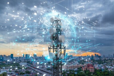 Plakat Telecommunication tower with 5G cellular network antenna on city background, Global connection and internet network concept