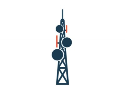 Plakat telecommunication tower with antennas