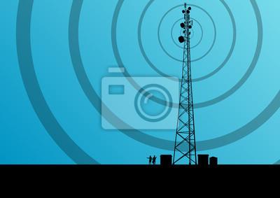 Plakat Telefon stacji bazowej telefonii komórkowej wieży radiowej z pl