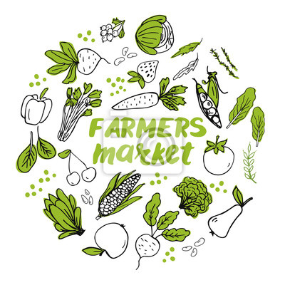 Plakat Template with hand drawn vegetables arranged into circle