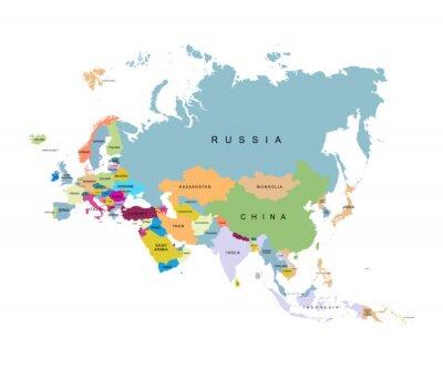 Plakat Terytorium Eurazji. Ilustracja wektorowa
