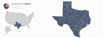 Plakat texas map. united states map. Individual Map series of US States.