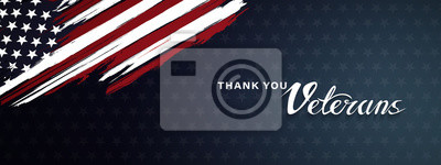 Plakat Thank you veterans, November 11, honoring all who served, posters, modern brush design vector illustration