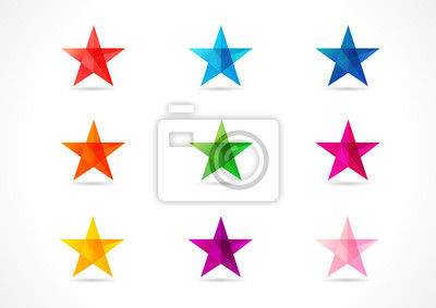 Plakat The colorful vector stars. The shining star icons in the shades of nine colors.
