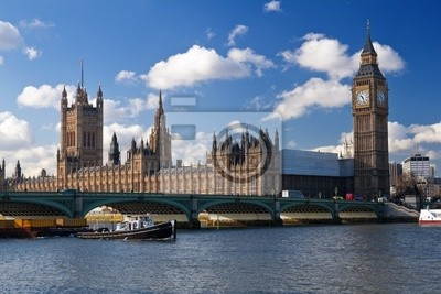 Plakat The Houses of Parliament i Westminster Bridge w Londynie