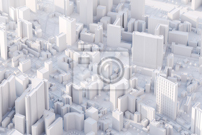 Plakat The layout of a modern city with a bird's-eye view. 3d rendering.