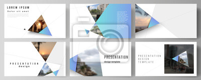 Plakat The minimalistic abstract vector layout of the presentation slides design business templates. Creative modern background with blue triangles and triangular shapes. Simple design decoration.