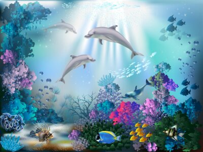 Plakat The underwater world with dolphins and plants