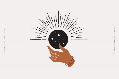 Plakat The woman's hand holds a shimmering moon. Magic vector illustration in trendy minimal style. Mystical symbols for spiritual practices, ethnic magic, and astrological rites.