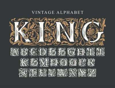 Plakat The word KING. Luxury design of ornate royal typeface for monogram, card, invitation, logo, label, signboard. Vintage Alphabet. Vector set of hand-drawn initial alphabet letters on a black background