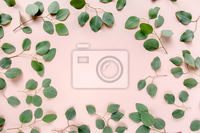 Plakat The workspace is decorated with green eucalyptus leaves, floral pattern on a pink background. The apartment lay, top view. Floral frame. Frame of flowers.