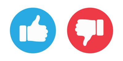 Plakat Thumbs up and thumbs down circle emblems. Like and dislike icons. illustration