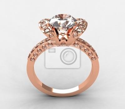Plakat Tiffany 18k Różowe Złoto Diament Pierścionek Zaręczynowy