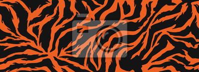 Plakat Tiger stripes pattern, animal skin, line background. Vector seamles texture