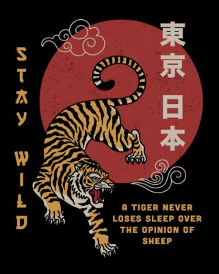 Plakat Tiger with Stay Wild Slogan and Japan Tokyo Words in Japanese
