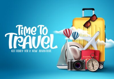 Plakat Time to travel vector design. Time to travel text in empty space with traveling elements like luggage, bags, passport, camera and compass in blue background. Vector illustration.