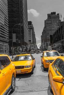 Plakat Times Square w Nowym Jorku żółta taksówka taksówki światło dzienne USA
