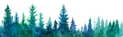 Plakat Tło lasu. Ilustracja akwarela