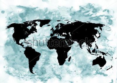 Plakat Tło mapy świata. Grunge tła. Abstrakcyjna sztuka emocjonalna. Nowoczesny element projektu.