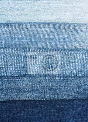 Tło poziome paski tkaniny niebieskie dżinsy w różnych odcieniach i jasności