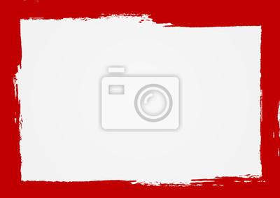 Plakat Tło prostokąta z czerwoną ramką. Malowane ręcznie szorstką szczotką. Szkic, tusz, grunge.