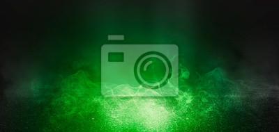 Plakat Tło pusta scena z betonową podłoga, neonowymi światłami i dymem. Kolor tła trendu zielony ufo
