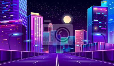 Plakat Tło wektor koncepcja z nocy miasto oświetlone neonowe świecące światła. Futurystyczny gród w kolorach niebieskim i fioletowym, panorama z nowoczesnych budynków i drapaczy chmur, autostrady