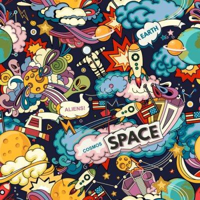 Plakat Tło wektor kosmosu. Kreskówka bezszwowe tło. Bezszwowy wzór z kreskówek astronautycznymi rakietami, kosmonauta, planety, gwiazdy.