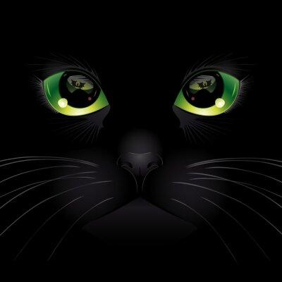 Plakat Tło z czarnym kotem. ilustracji wektorowych.
