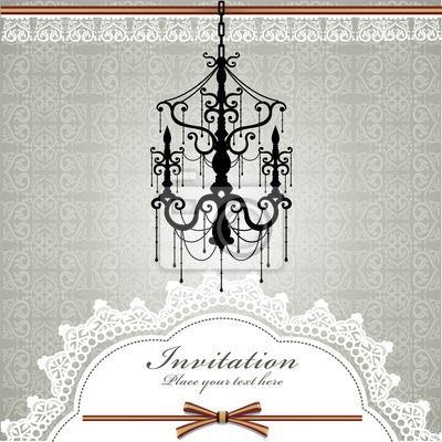 Plakat Tło z luksusowymi żyrandolami z koronką