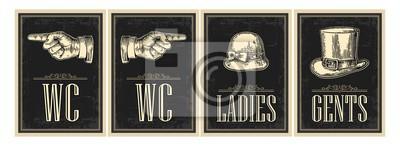Plakat Toaleta retro grunge plakatu. Panie, centów, palcem wskazującym. Vector vintage grawerowane ilustracji na czarnym tle. Dla barów, restauracji, kawiarni, pubów