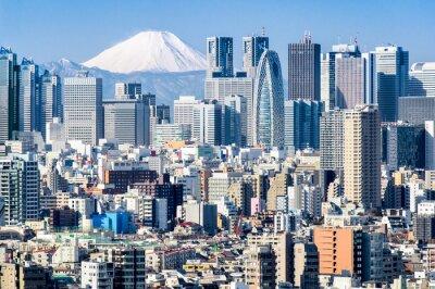 Plakat Tokio im Winter mit Fujiyama im tła