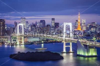 Plakat Tokio, Japonia linia horyzontu i pejzaż miejski przy Tokio zatoką.