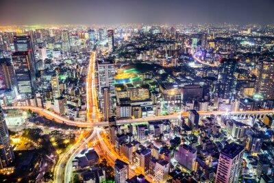 Plakat Tokio, Japonia pejzaż i autostrad