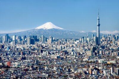 Plakat Tokio Skyline mit Mount Fuji und Skytree
