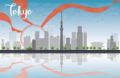 Plakat Tokio skyline z drapaczy chmur, słońca i refleksji
