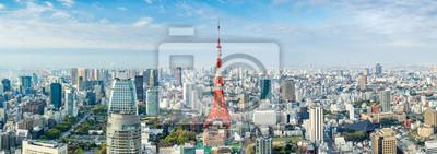 Plakat Tokyo Panorama mit Tokyo Tower, Japan