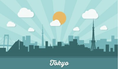 Plakat Tokyo skyline - płaska