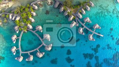 Plakat TOP DOWN Spectacular drone shot of exotic island landscape and rich hotel resort