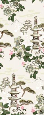 Plakat toro flower temple mountain nature landscape view vector sketch illustration japanese chinese oriental line art ink seamless pattern
