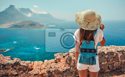 Plakat Tourism, travel, vacation on the rocky sea.
