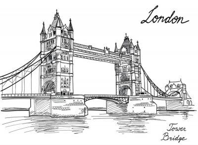 Plakat Tower Bridge, Londyn, Anglia, Wielka Brytania, Europa. Strony rysunku ilustracja starej mody