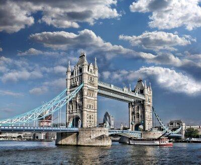 Plakat Tower Bridge w Londynie, w Anglii