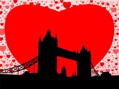 Plakat Tower Bridge w Londynie z serca