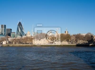 Plakat Tower of London z wieżowcami w tle